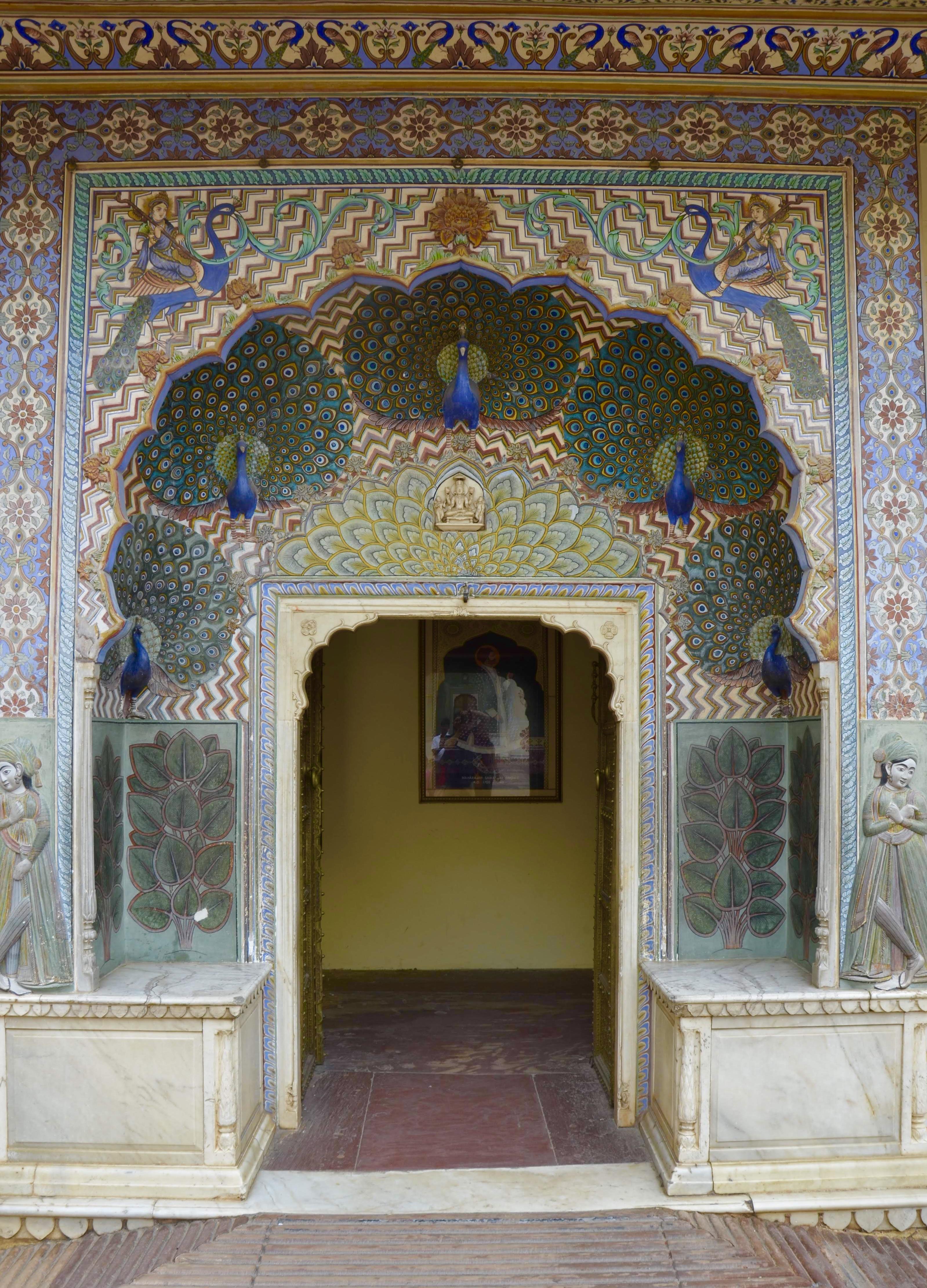 Portão do Pavão no Palácio Real de Jaipur, Peacock Gate City Palace